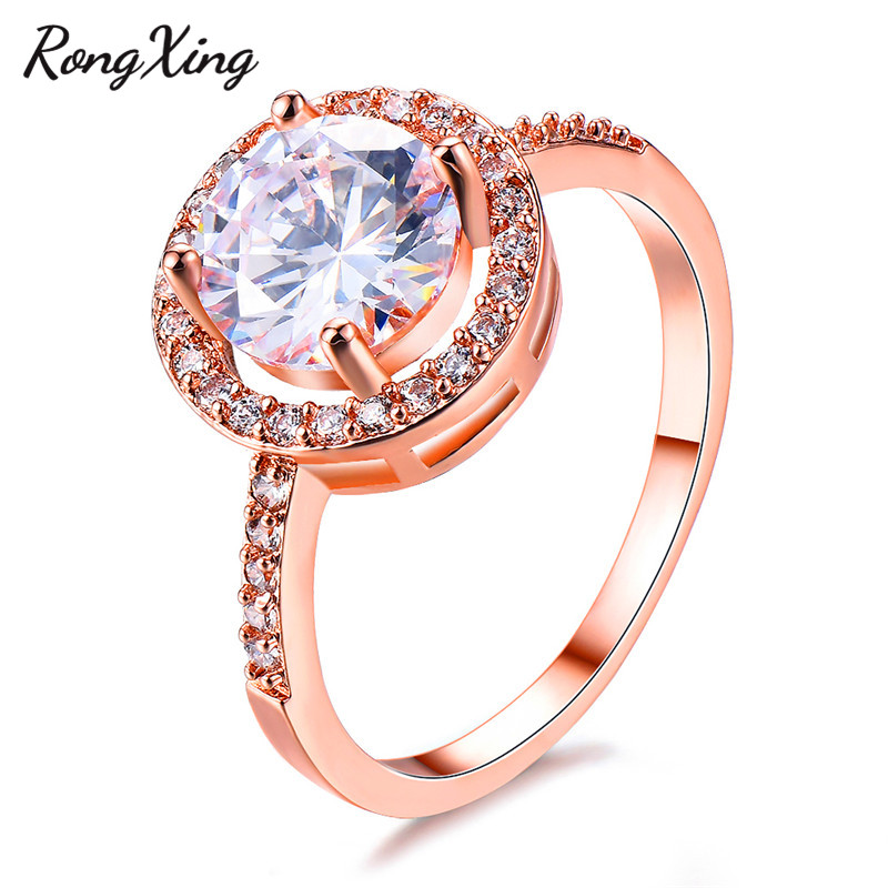 RongXing Gorgeous April Birthstone White Round Zircon Rings For Women Rose Gold Engagement Jewelry Lady Christmas Gifts RR0110