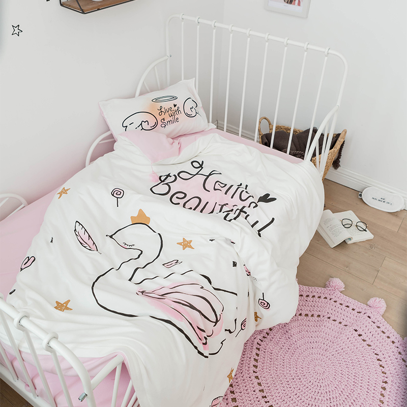 3Pcs Baby Bedding Set 100% Cotton Knit Cartoon Swan Pattern Baby Bed Set Crib Kid QuiltCover Pillowcase Flat Sheet For Boy Girl cnuon 3 5xl