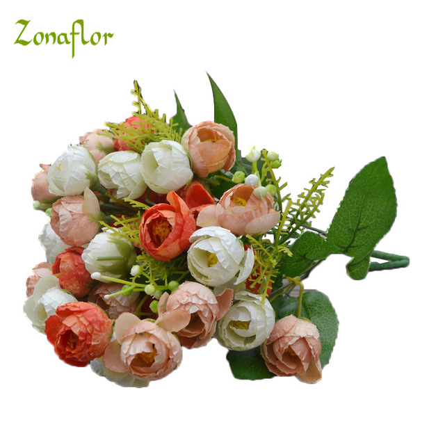 Zonaflor 21 buds 1 bouquet mini rose artificial silk flower bride zonaflor 21 buds 1 bouquet mini rose artificial silk flower bride bridal home decoration flowers fake mightylinksfo Image collections
