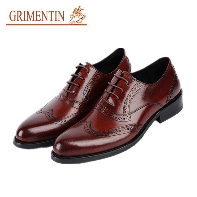 GRIMENTIN hot sale genuine leather men business shoes 2018 black brown formal  shoes wedding shoes luxury