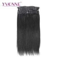 YVONNE CHEVEUX Brésilienne Vierge Droite Cheveux Clip En Extensions de Cheveux Humains 16-22 pouces 7 Pièces/ensemble Naturel Couleur 120 g/ensemble