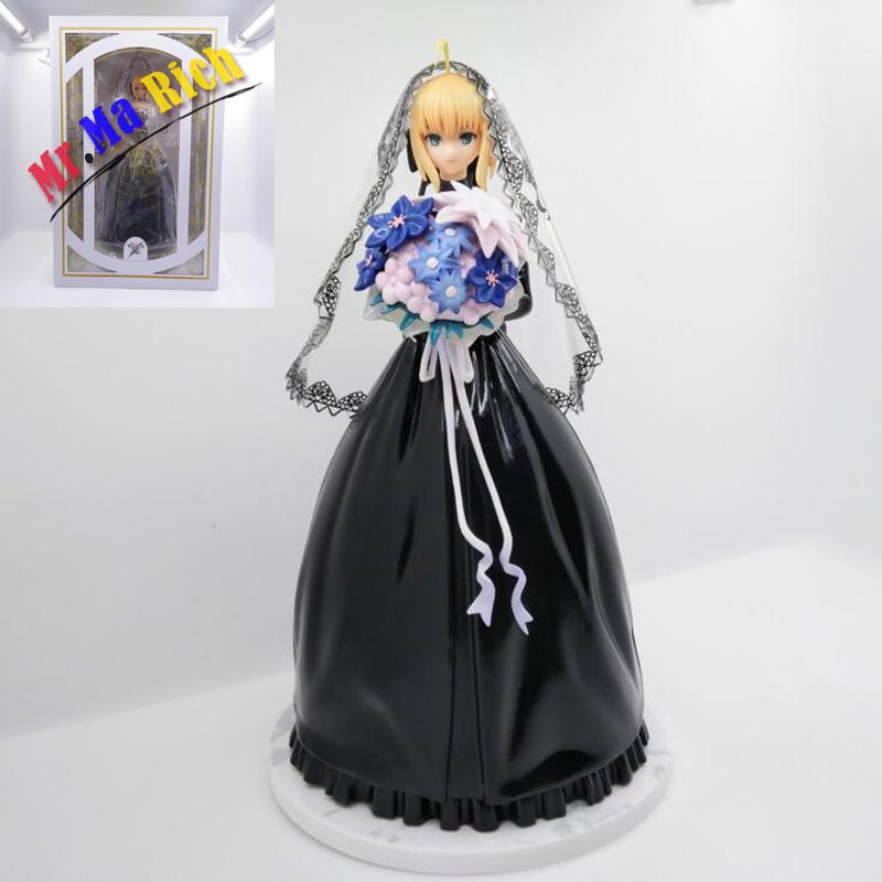 10th Anniversary Cartoon Doll Saber Black Wedding Dress Ver. Anime Fate/stay Night Collection Figure -packed Pvc 25cm anime fate stay night saber red armor ver pvc action figure collectible model doll toy 26cm