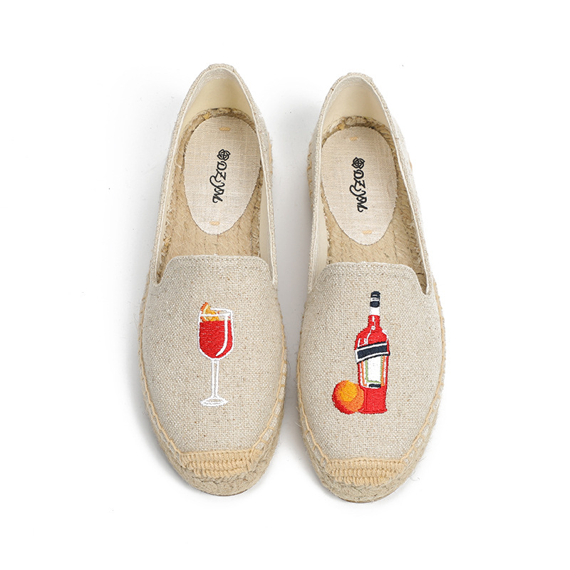 DZYM Spring Summer Canvas Espadriles Orange Juice Cup Linen Women Loafers Flax Hemp Moccasins Fisherman Shoes