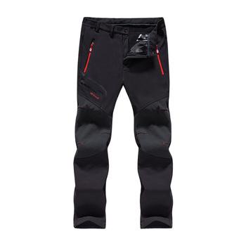 Męskie zimowe polarowe wodoodporne spodnie sportowe miękka powłoka spodnie Camping Trekking piesze wycieczki wspinaczka narciarstwo wędkarskie spodnie zimowe tanie i dobre opinie Pełnej długości Camping i piesze wycieczki A023 Poliester XMKUNBO Pasuje prawda na wymiar weź swój normalny rozmiar