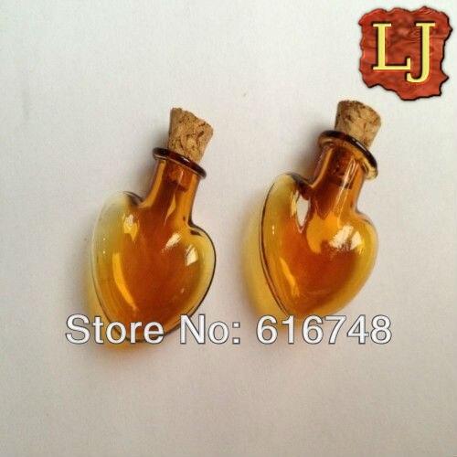 Dhlfreeshippig 100pcs Heart Shaped Amber Glass Bottles Cork Stoppers