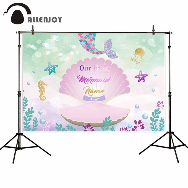 Allenjoy Mermaid Princess birthday party photography backdrop seabed shell fairy tale background children photophone photocall