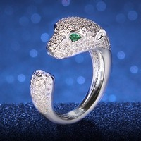 BELLA 2015 Simulated Diamond Emerald Cubic Zirconia Copper Plated Snake Rings For Women Zircon Rings For