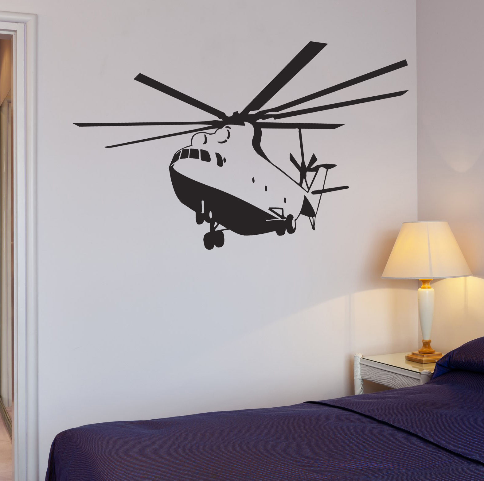 2016 new Helicopter Wall Decal Apache Helicopter War Military Boys Room Vinyl Stickers free shipping