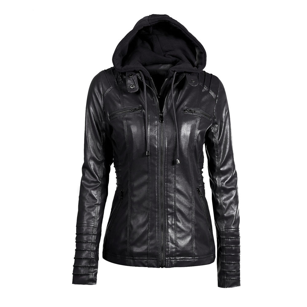 2017 Autumn Zipper Leather Hooded Basic Oversized Jacket Womens Solid Slim Casaco Feminino Coat Bolero Outerwear Motorcycle Top
