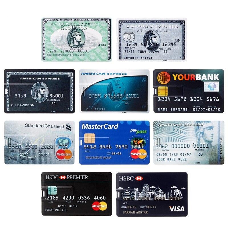 Image 2 - waterproof Super Slim Credit Card usb flash drive 2.0 pendrive 128GB 64GB 16GB 8GB 4GB HSBC Master Card pen drive 32GB Free logo-in USB Flash Drives from Computer & Office