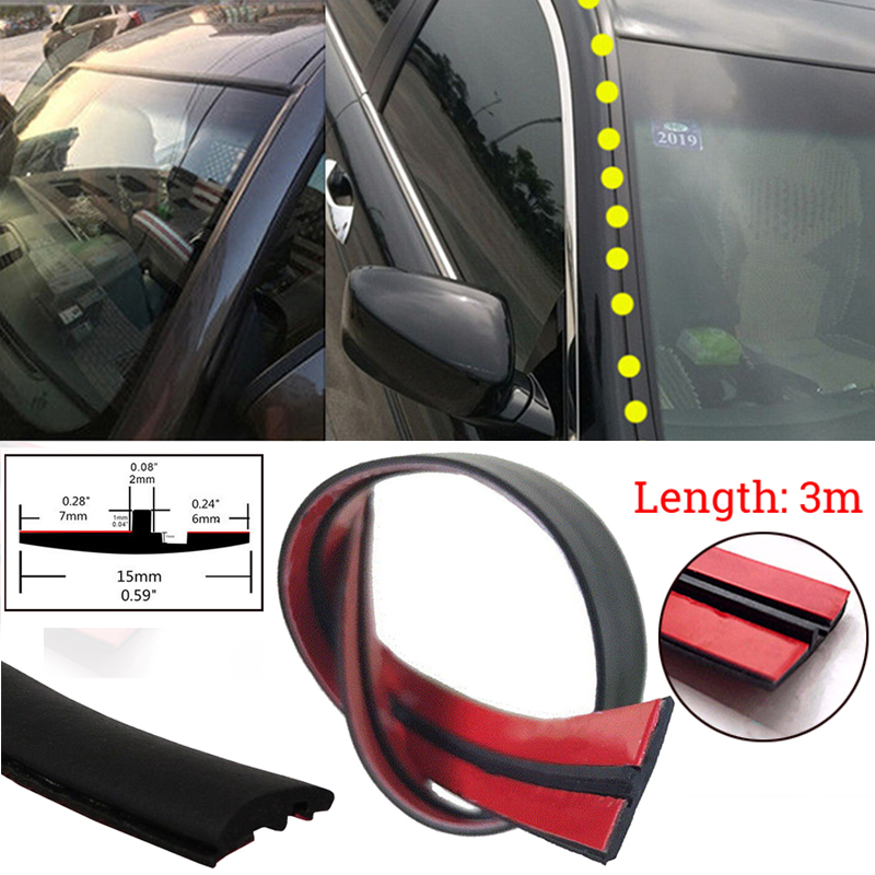 15mm*9m Black Car Windshield Dust-proof Rainproof Noise Insulation Sealing Strip