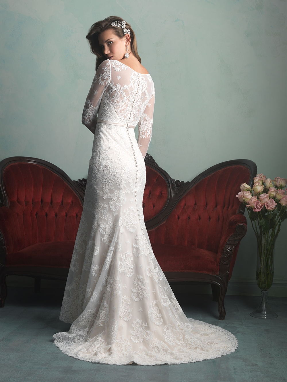 Floor Length Ivory Lace Dress