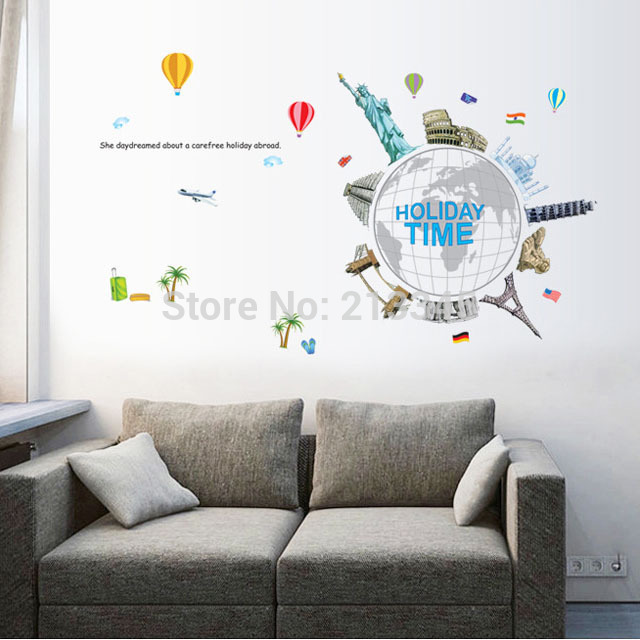 [Fundecor] holiday time world travel DIY wall sticker murals office home interior decals wallpaper vinilo mundo