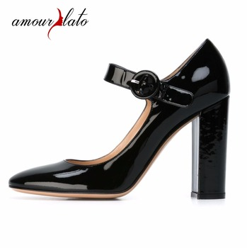 Amourplato Womens Round Toe Chunky Heel Mary Jane Pumps Thick Heels Almond Toe Office Party Business Dress Shoes Size 5-13
