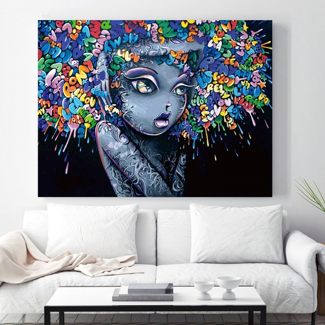 Great Canvas Poster Living Room Wall Art Framework 1 Piece/Pcs Creative Abstract  Girl Graffiti Painting HD Prints Pictures Home Decor