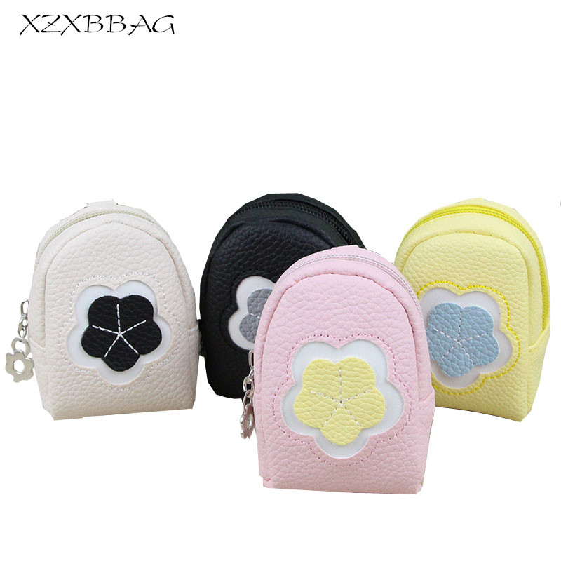 XZXBBAG Cute Flowers Zippers Coin Purses Female Mini Zero Wallet Change Purse Girl Candy Color Money Bag Key Organizer XB099