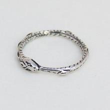حلقة Ouroboros الساحرة القديمة الفضة مطلي خاتم استعادة الطرق القديمة