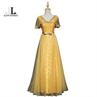 LOVONEY Evening Dresses Long Sexy V Neck Backless Formal Dress Evening Party Gown A Line Beading