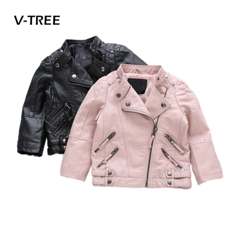 V-TREE Girls Boys Jacket PU Leather Kids Jackets Clothes Children Outwear For Baby Girls Boys Clothing Coats Costume 2-8 Year 2 14t baby boy clothes boys jacket leather spring letter boys outwear for children kids coats for boys baseball sweatershirt