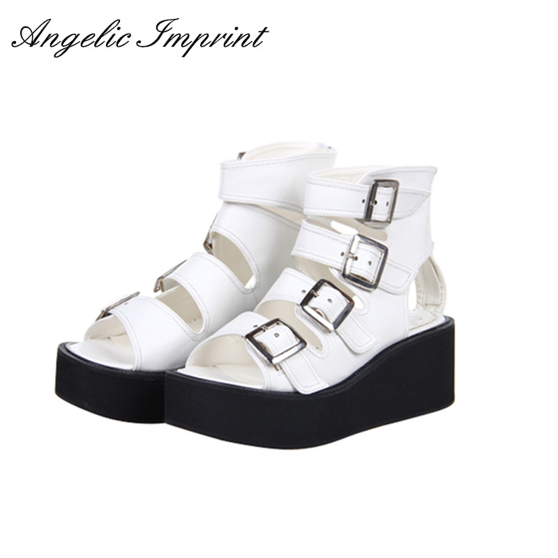 Women Lolita Cosplay Punk Rock Platform Sandals Wedge Shoes Open Toe Gladiator Sandals Boots BLACK/WHITE/SILVER nayiduyun women casual shoes low top platform wedge high heels boots round toe slip on pumps punk chic shoes black white sneaker