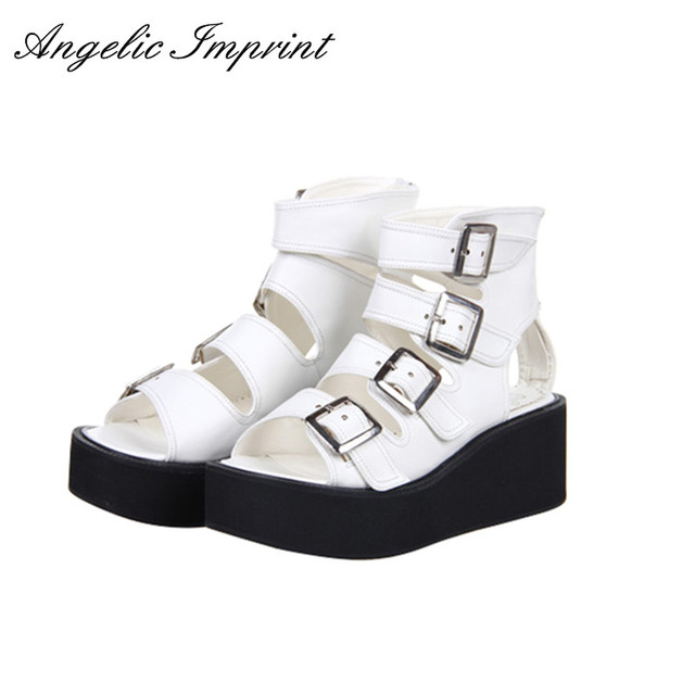e6f40cfed41 Women Lolita Cosplay Punk Rock Platform Sandals Wedge Shoes Open Toe  Gladiator Sandals Boots BLACK WHITE SILVER