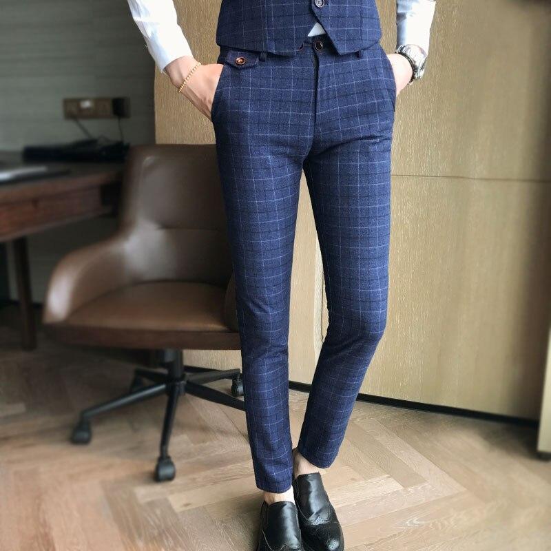 2019 Neue Mode Boutique Plaid Männer Casual Business Anzug Hosen Männlichen Formalen Hosen Große Größe S-5xl