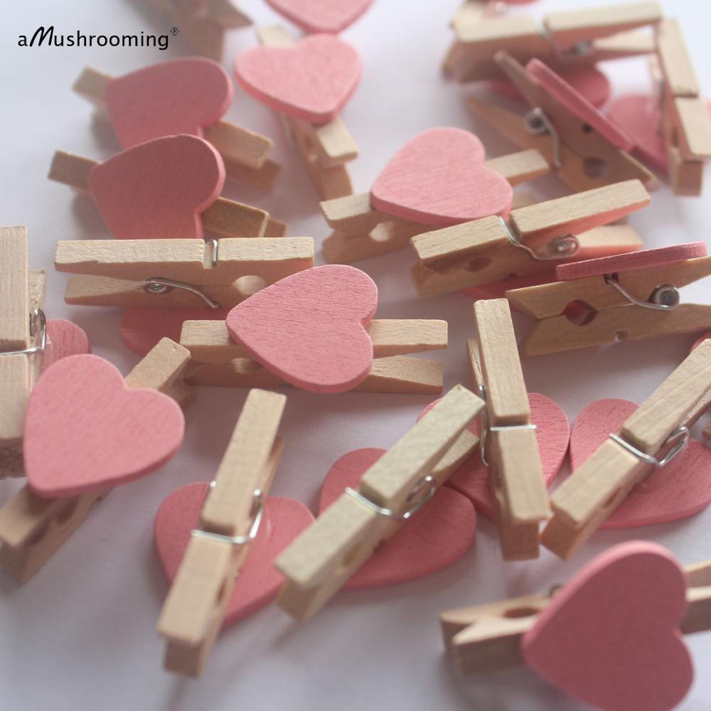 50x Mini Clothes pegs Baby Shower Pink heart wood craft DIY birthday ...