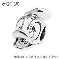 Donald Ördek Portre Boncuk Takı Yapımı için Orijinal 925 Gümüş Charm Boncuk Fit Bilezik Diy Güzel Takı PF531