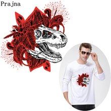 Prajna Jurassic Park Dinosaur Heat Transfer Iron On Patches For Clothing T-shirt DIY Punk Thermal Stickers Accessories