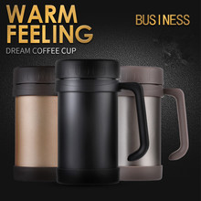 hot sale 500ml Stainless steel handgrip car Business vacuum flask portable travel coffee mug fruit juice tea milk thermos cup