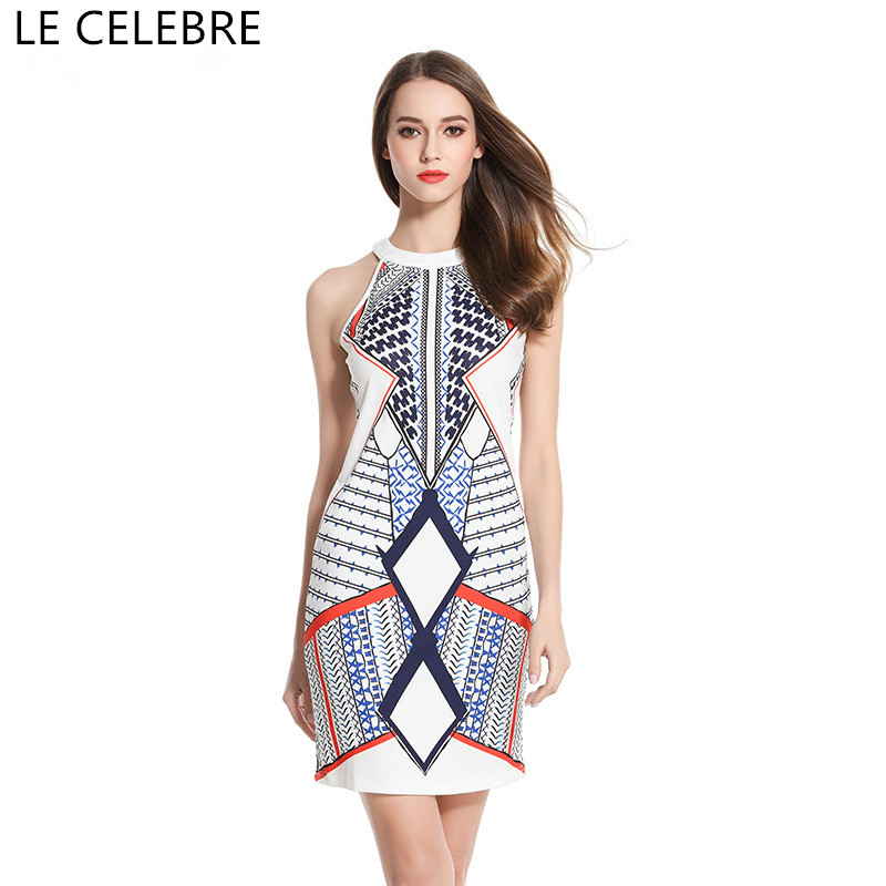 LE CELEBRE Print Women Dresses 2018 Patterned Short Dress New Vestidos Femininos O Neck Knitted Dress Size S M L XL XXL meifeier 407 women s fashionable knitted chiffon blouse apricot l