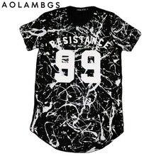 T shirt Männer Hip Hop Harajuku Swag Kurzarm T-shirts Homme 2016 Neue Sommer Fashion Letters Unregelmäßigen tinte Gedruckt Tops t
