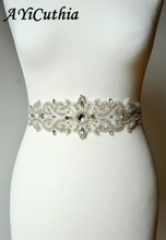 AYiCuthia Hand Made Width Rhinestones Ribbon Pearls Satin Wedding Dress Belt Luxury Sash White Beige Bridal Y7