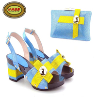 YH18Sky Yellow Latest Woman S Shoes And Bag Set High Class Fashion African Sandals High Heels