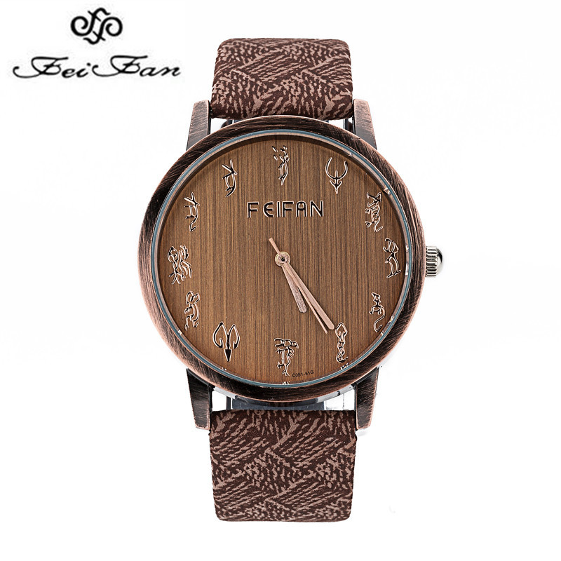 2017 FeiFan New Fashion Twelve Constellations of PU Watch Men Casual Quartz  Watch Leather Business Wristwatch Waterproof Clock