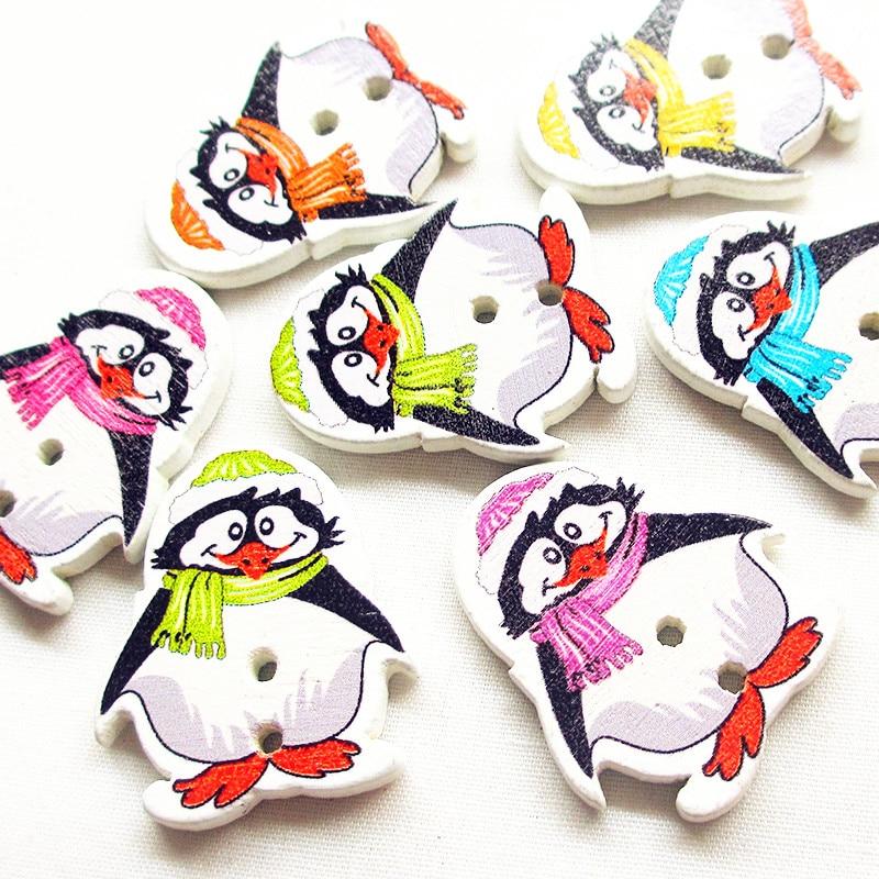 Suoja 28mm 10/50 unids/pack mezcla de botones de madera pingüino para ropa manualidades costura Scrapbooking DIY Accesorios