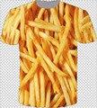 2015 нью-harajuku с коротким рукавом женщины / мужчины 3d майка картофель фри печать - майки топы camisetas Большой размер прямая поставка