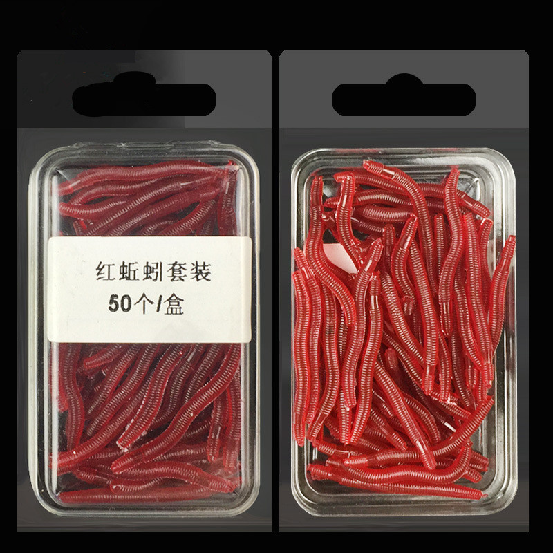 50pcs/box Artificial Earthworm Fishing Lure Blood Worm Maggot Soft Bait River Stream Lake Freshwater Fishing Baits Dropshipping футболка toy machine blood river navy heather