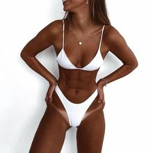 White Ribbed bikinis 2018 Sexy high cut leg bikini set swimsuit female Brazilian swimwear women thong Tanga Swimming suit