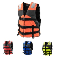 Adult Device Life Jacket Vest Swimming Buoyancy Aid Polyester Swim Float Vest Whistle Sporting Goods цена