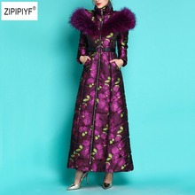 2018 Winter Women Super Big Fur Collar thicke Maxi Long Jacket Female print Outerwear Warm Hooded New Coat Parka Ladies B1165