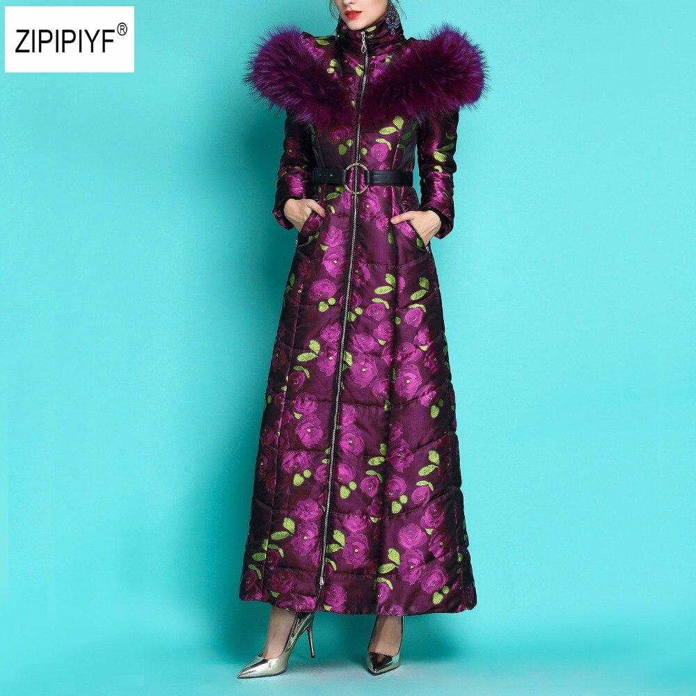 2019 겨울 여성 슈퍼 큰 모피 칼라 두꺼운 맥시 롱 자켓 여성 인쇄 겉옷 따뜻한 후드 새 코트 파카 숙녀 b1165-에서파카부터 여성 의류 의  그룹 1