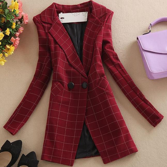 Womens Red Plaid Blazer Collar Long Sleeve Office Lady Suit