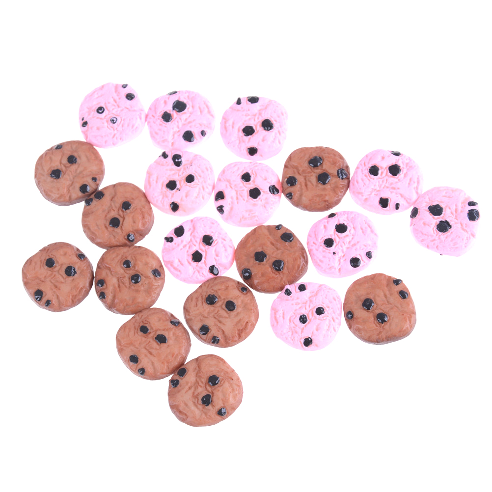 Cute 10pcs/lot Kawaii Chocolate Chips Cookies Bakery 20mm Miniature Dollhouse Kitchen Decoration For Children Kids
