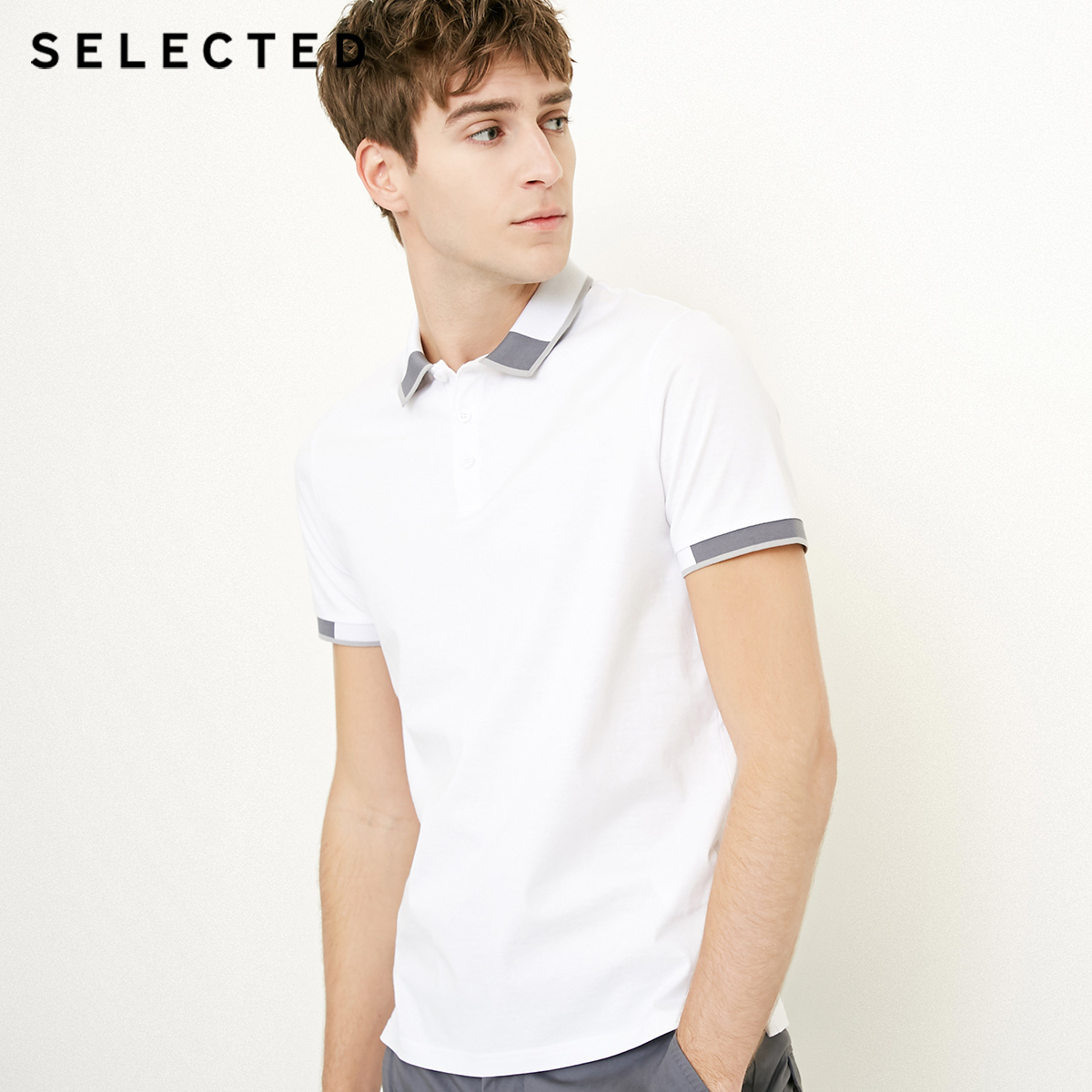 Image 2 - SELECTED  Mens Cotton Color Splicing Leisure  Collar Poloshit S41823Z523T-Shirts
