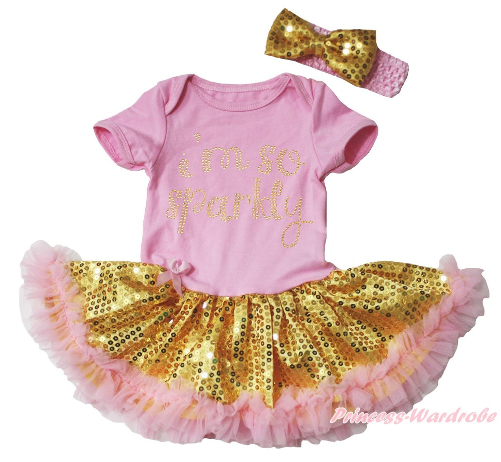 6f4546862d I m So Sparkly Pink Bodysuit Gold Bling Sequins Girls Baby Dress Outfit NB -18M