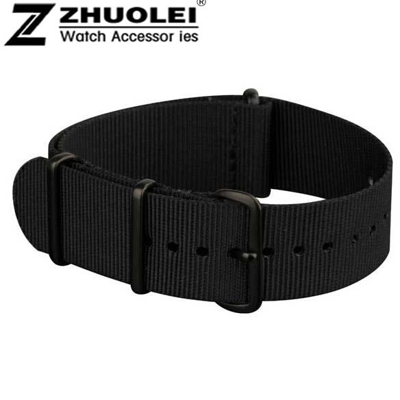 18mm 19mm 20mm 22mm NATO Watch Straps All Black Nylon Fabric Watchbands Stainless Steel Buckles Claps Durable perlon watch strap survival nylon bracelet with stainless steel buckles green