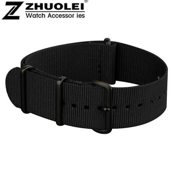 18mm 19mm 20mm 22mm NATO Watch Straps All Black Nylon Fabric Watchbands Stainles
