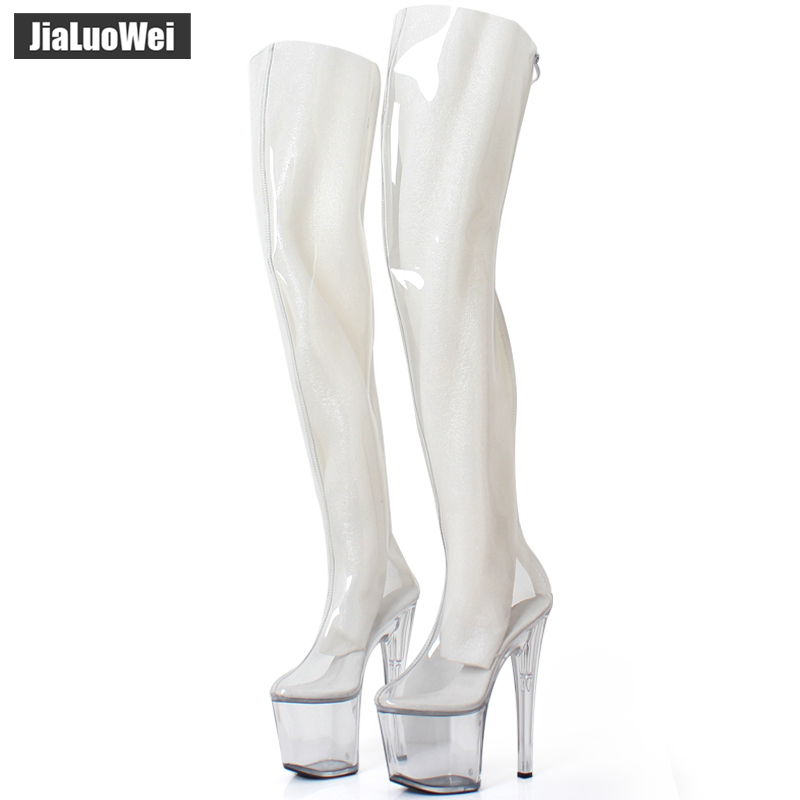 Women 20cm Extreme High Heels +9CM Platform Clear PVC Over-Knee High Boots Sexy Fetish Zip Fashion Show Transparent Crotch Boots women 20cm extreme high heels 9cm platform clear pvc over knee high boots sexy fetish zip fashion show transparent crotch boots