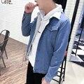 Retro Berber Casaco de lã dos homens Coreano Slim Fit Quente Pele Jean casaco Jaquetas Jeans Da Moda Tops New Masculino Forro De Pele Azul Preto